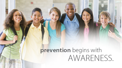 "kids school backpacks ""prevention begins with awareness"""