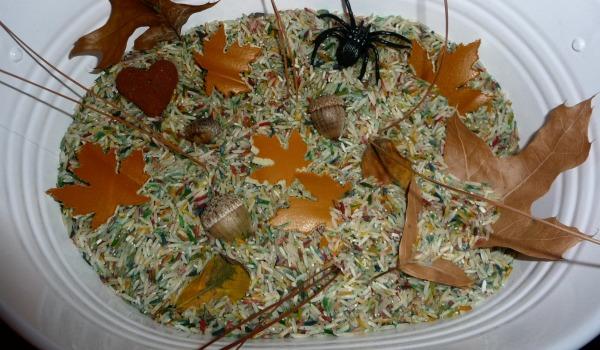 fall themed sensory tub