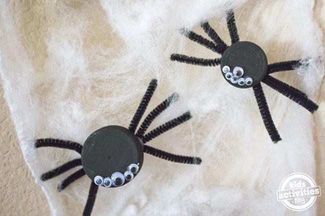 Halloween Bottle Cap Spiders