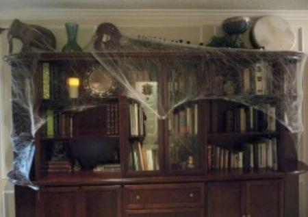 halloween spider webs bookcase