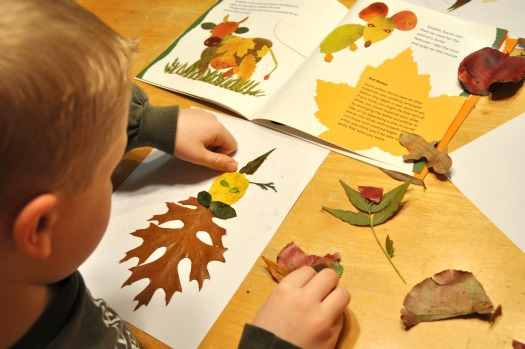 boy making leaf person