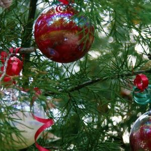 Homemade Christmas Ornaments on tree