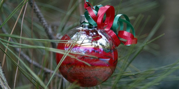 homemade glass ornaments red and glitter