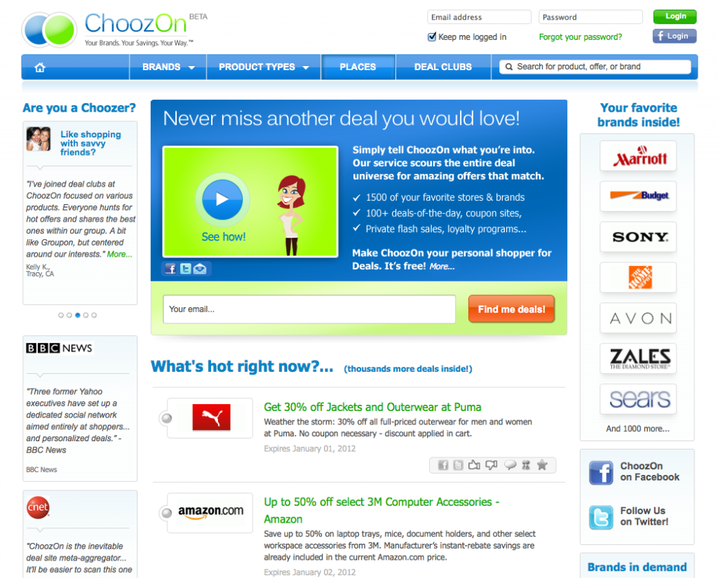 ChoozOn.com screen shot