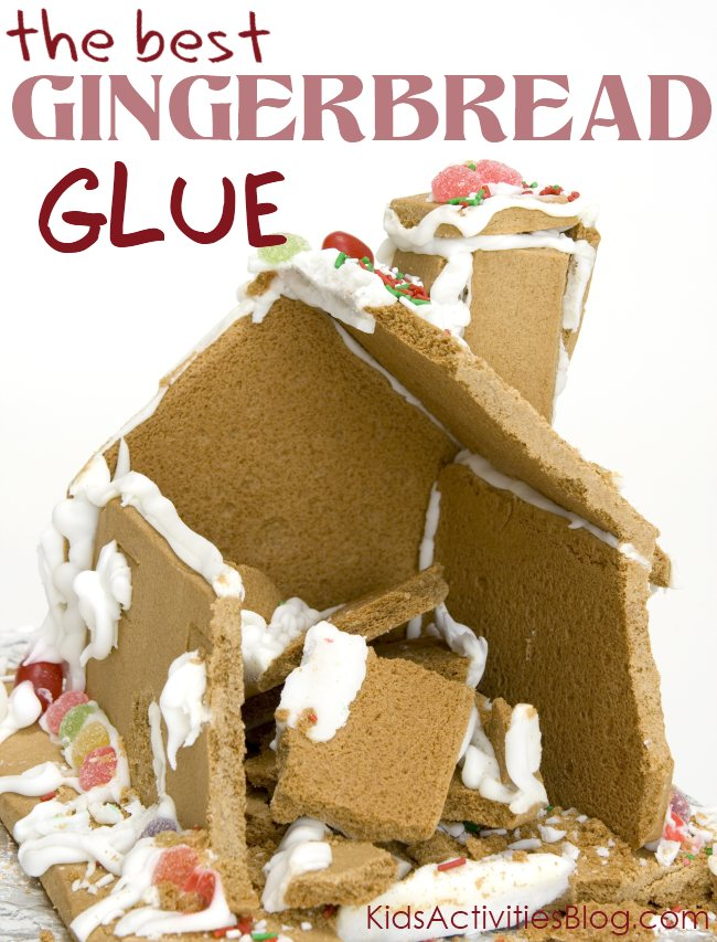 Gingerbread man activities that include making a house with the best gingerbread glue so your gingerbread house doesn't crumble in like in the photo.