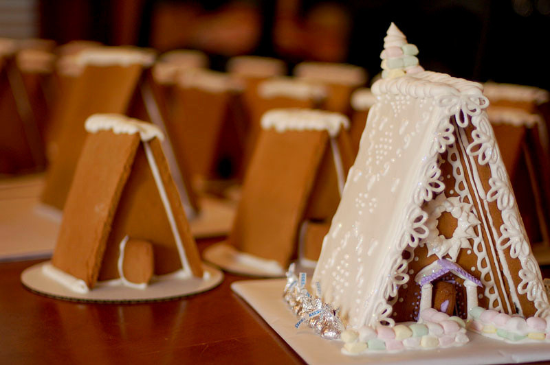 Gingerbread House Glue A-frame houses to make