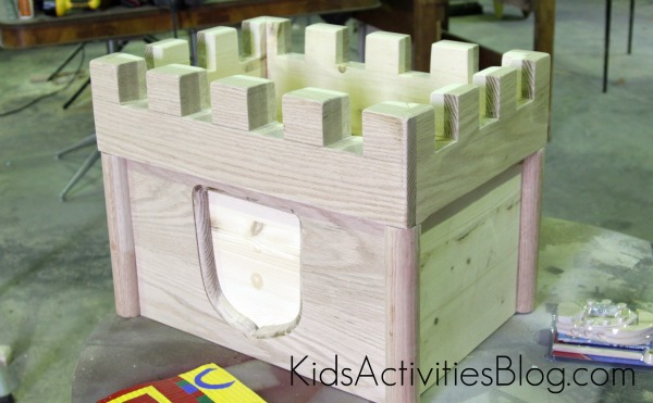 toy chest with castle top