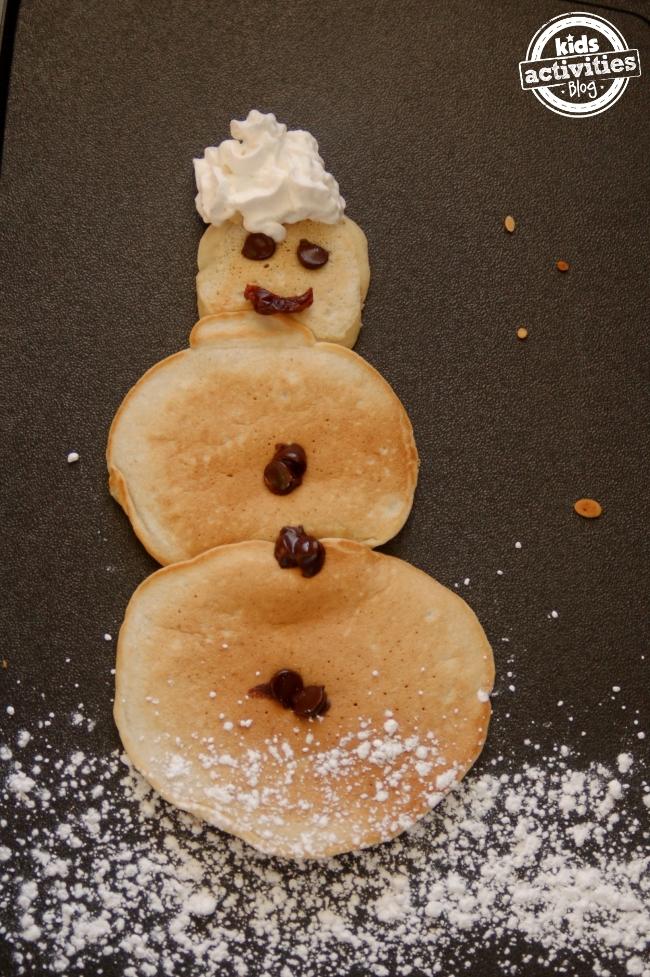 snow man pancake activity for kids