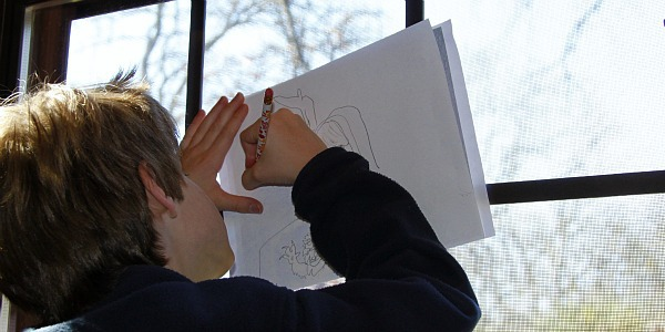 cartoon drawing at window