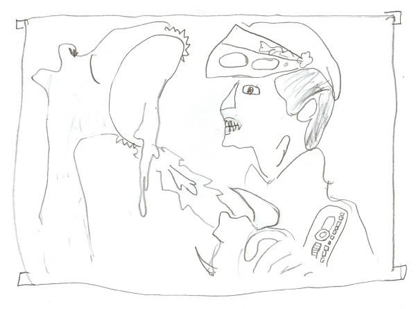 cartoon drawn by child in art class