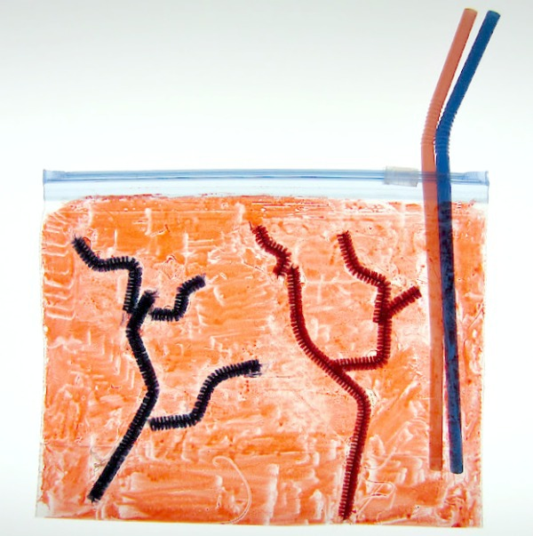 inflatable heart craft with red muscles and red and blue veins and two straws.