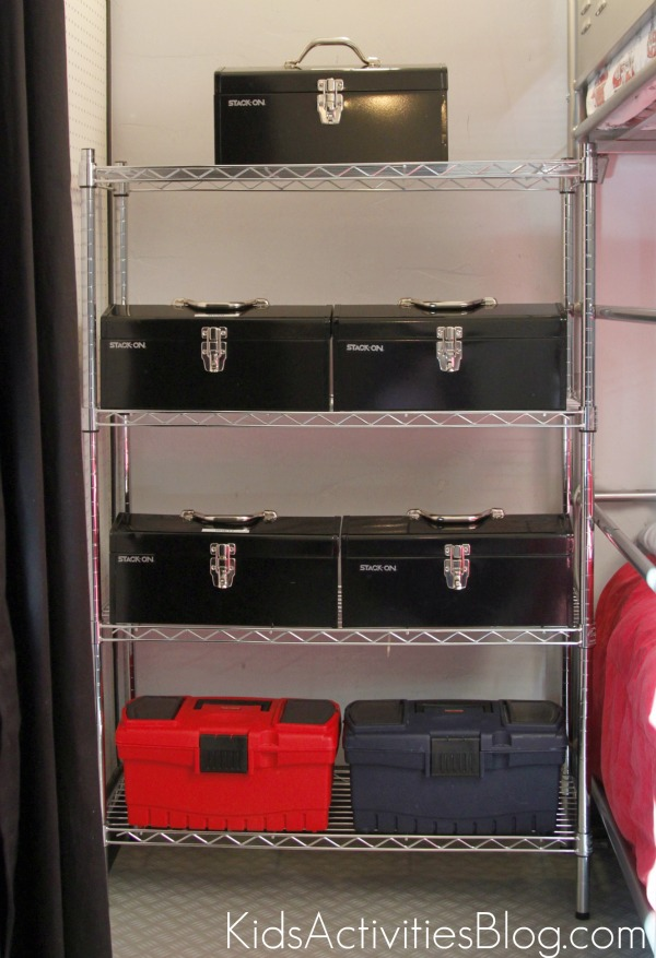 tool chests on shelves