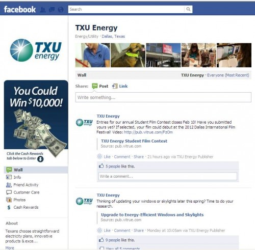 TXU Energy FB page