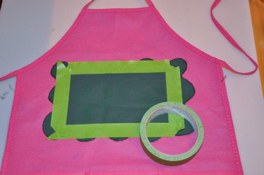 apron with painter tape