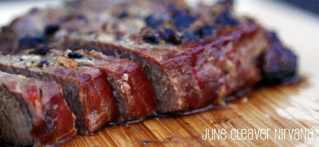 beef from roasting pan sliced