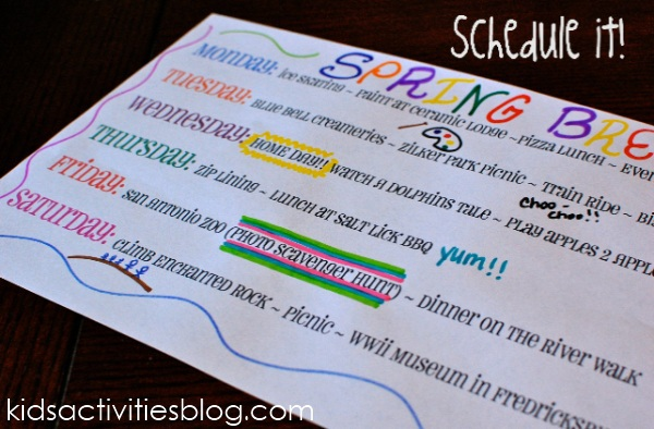 create a staycation schedule