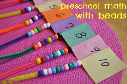 preschool math with beads