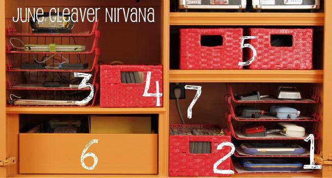 organize electronics inside cabinet