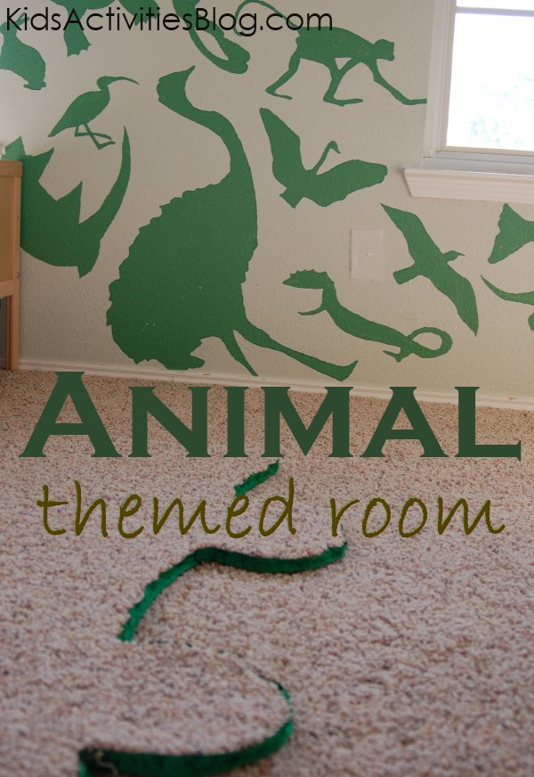 animal themed boys bedroom created with paint and a little carpet remnant - more on that
