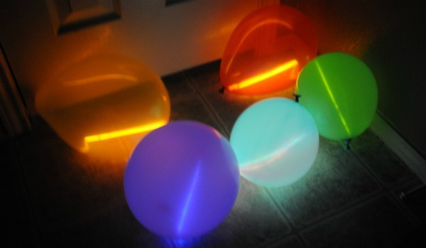 balloons with glow sticks