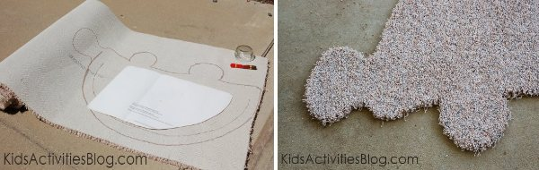 diy rug instructions - trace and cut out the shape of an animal from a carpet remnant