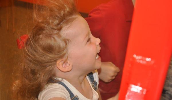 little girl in wind