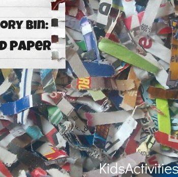 sensory bin shredded paper