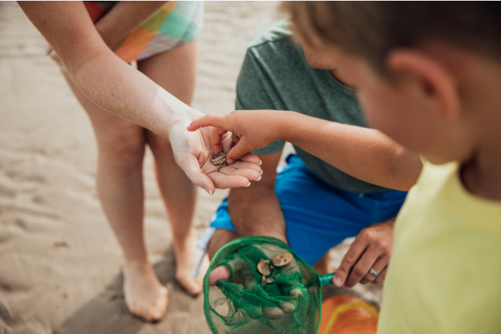 Recreating ocean senses with sensory bin at home - Kids Activities Blog - kids on beach collecting shells