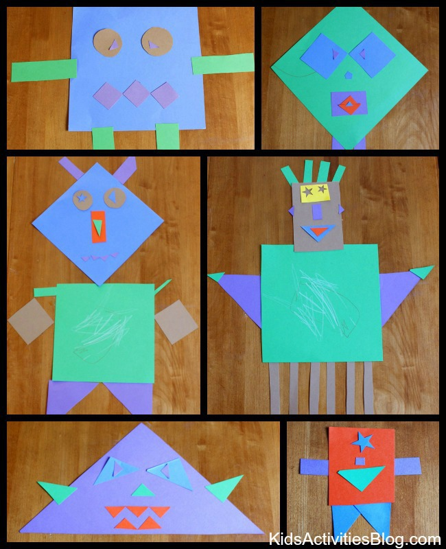 Making Monsters With Shapes Worksheets : Paper activity shape monsters