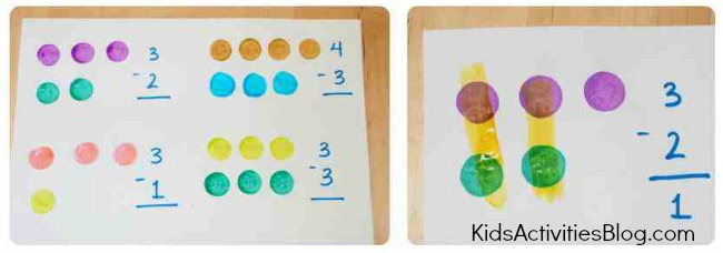 math for kids subtraction with do-a-dot