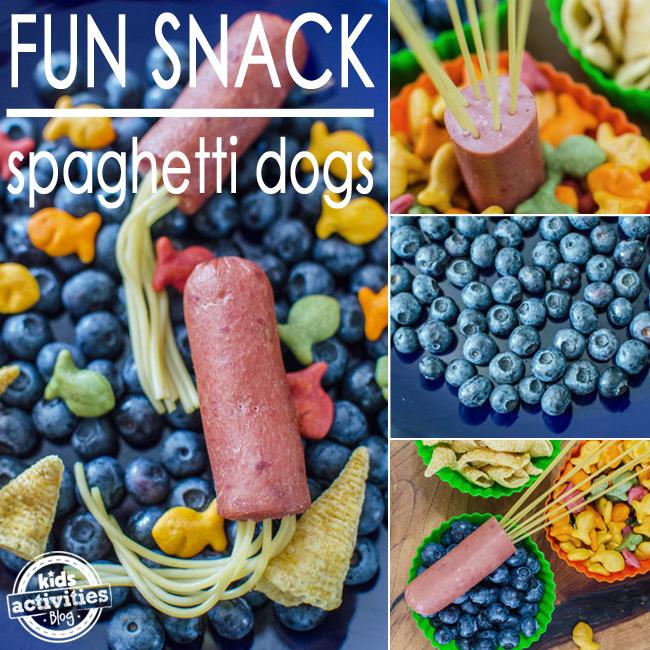 fun snack spaghetti dogs