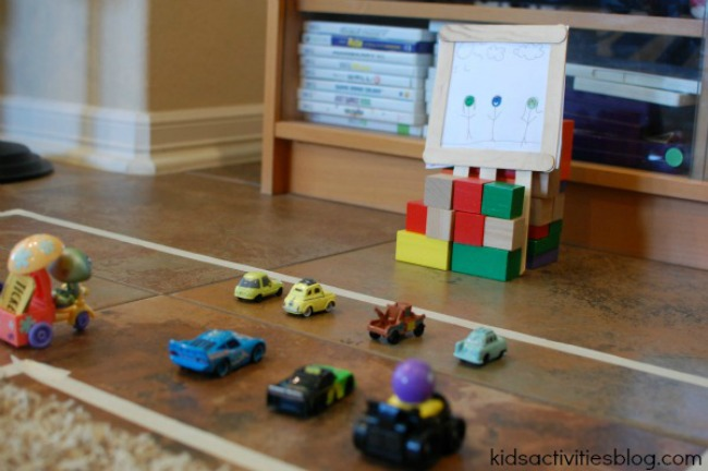 toy cars and masking tape