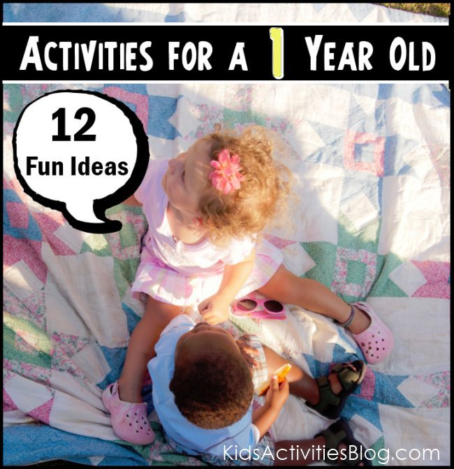 Activities to engage your one year old - 12 fun ideas - two babies sitting on a blanket