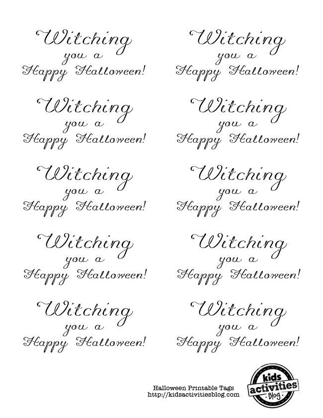 Halloween Printable Tags with cursive writing