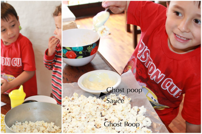 Us making homemade ghost poop with popcorn and white chocolate for the printable treat bags
