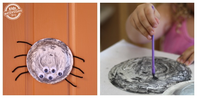 Quick and easy paper plate craft spiders - they're so cute! child painting paper plate and finished spider craft