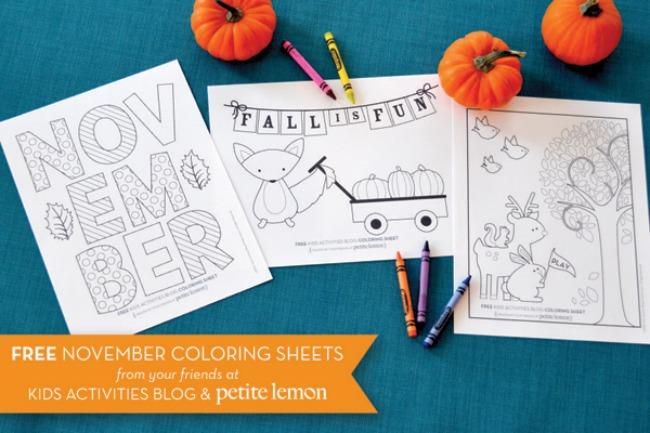 November coloring sheets with fall fun, foxes, pumpkins, deer, rabbits, and a tree.
