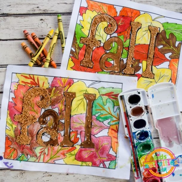 fall coloring page with the letters fall and autumn leaves