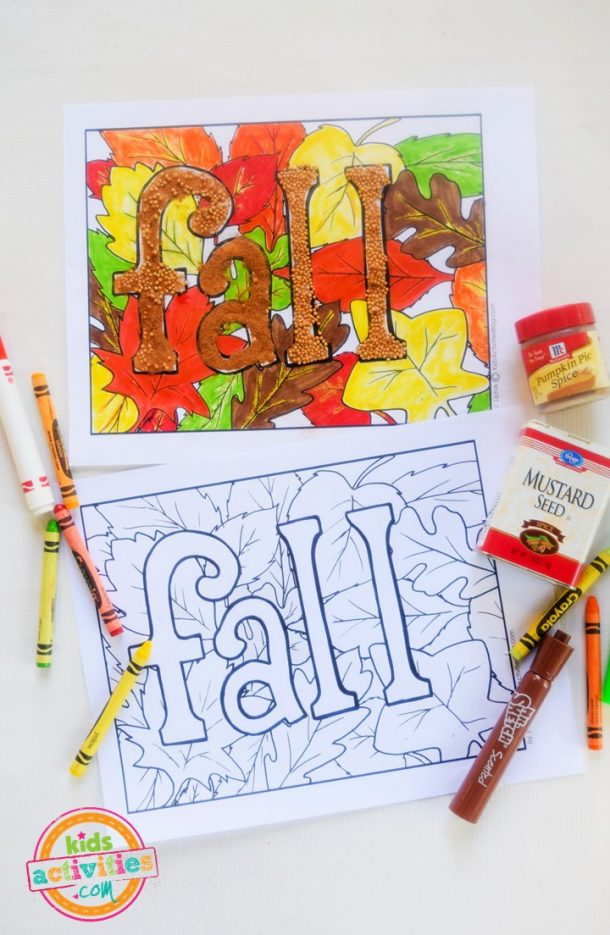 4 Free Printable Fall Coloring Pages: Fall leafs, scarecrow, and more!