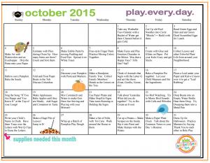 October Play Calendar