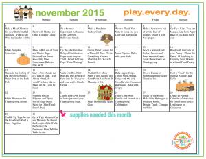 November Play Calendar