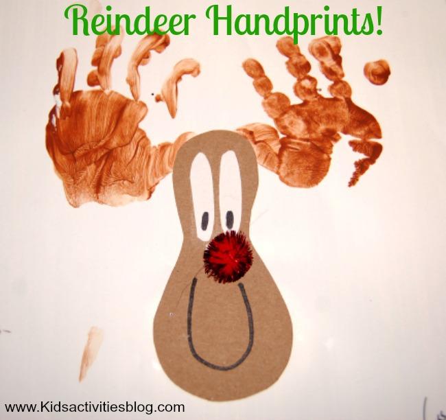 Reindeer Christmas Cards Hand Prints.Christmas Craft Reindeer Handprints