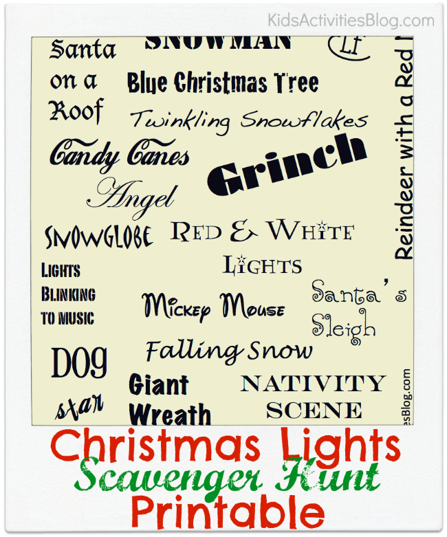 Chirstmas lights scavenger hunt printable