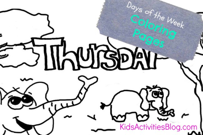 Thursday coloring page - part of the days of the week coloring sheets for kids from Kids Activities Blog