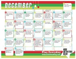 December Activity Calendar for kids
