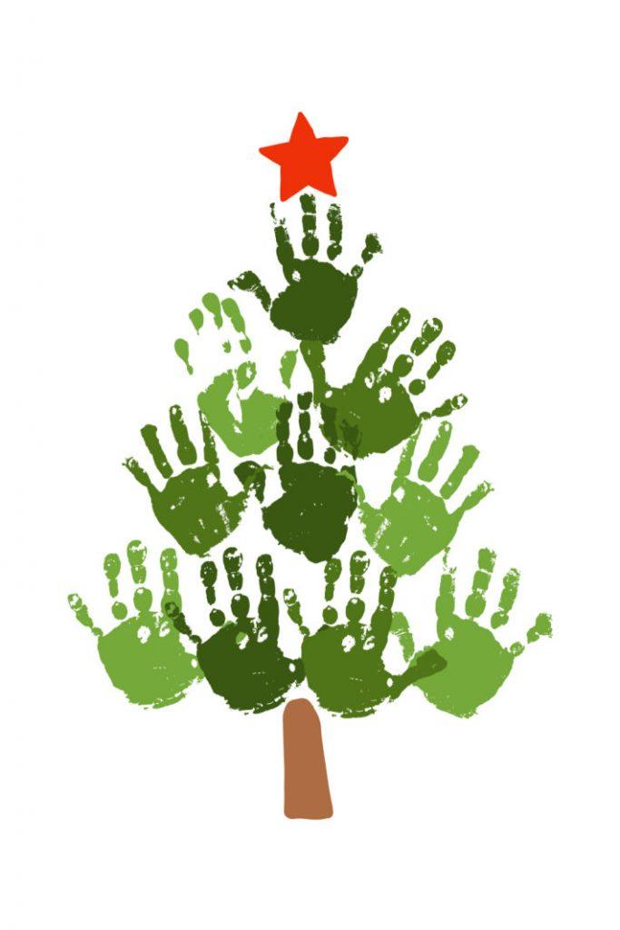 Handprint Christmas tree - light green and dark green handprints make tree with red star on top