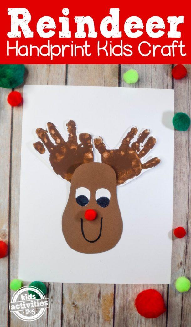 Artisanat d'empreinte de main de renne - Rudolph avec nez rouge et bois d'empreinte de main