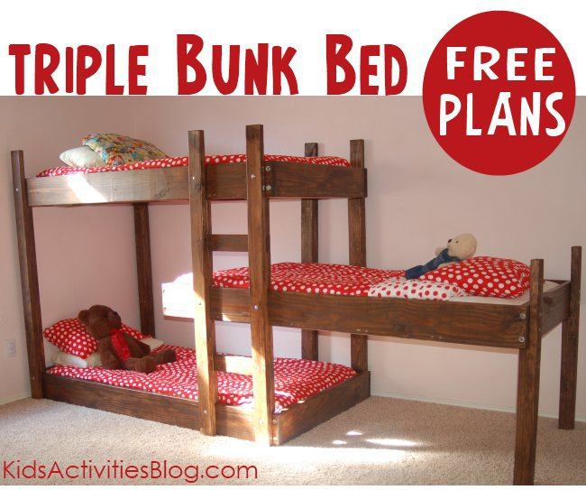 Build A Bed} Free Plans for Triple Bunk Beds - Kids Activities Blog