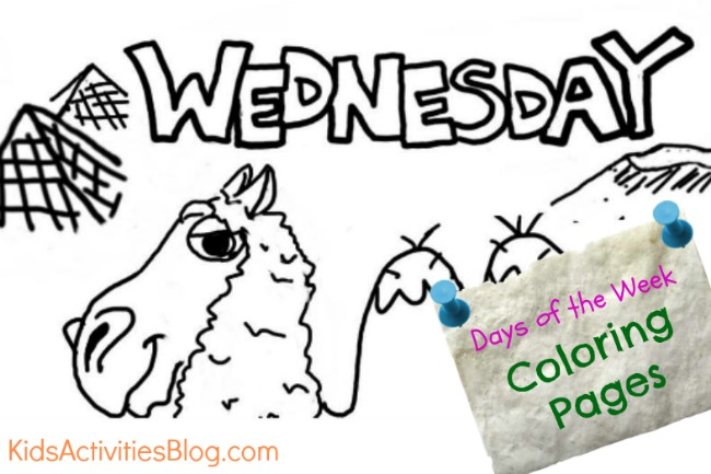 Wednesday coloring page - days of the week coloring sheets from Kids Activities Blog