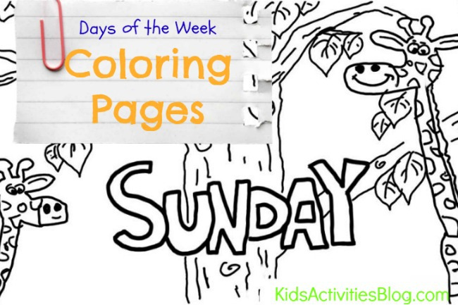 days of the week coloring page - sunday learn the days of the week with your kids